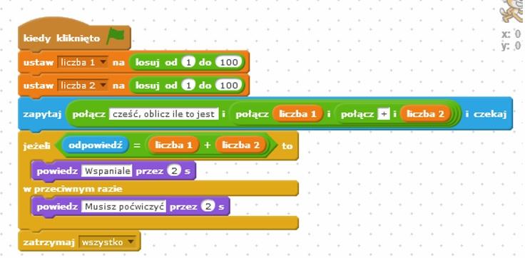 Rys 1) Przykładowy program dodawanie liczb w zakresie od 1 do 100.